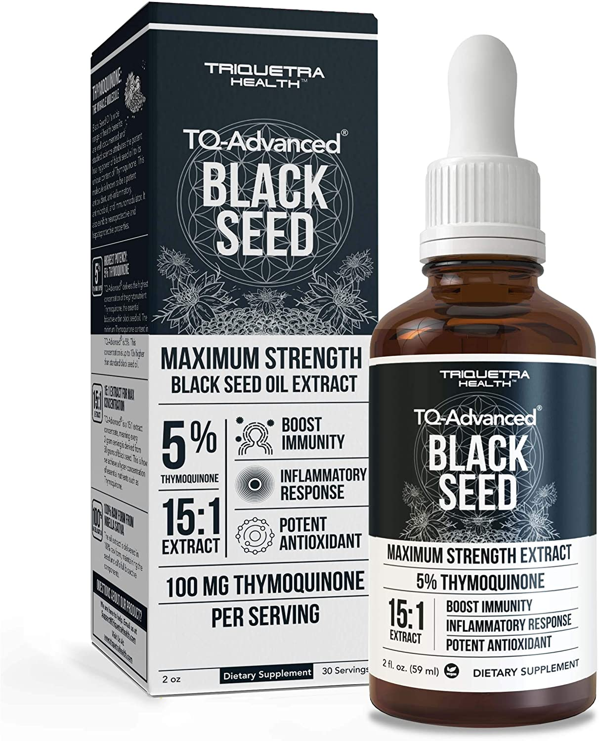 Black Seed Oil TQ Advanced - 5% Thymoquinone, Highest Concentration Available - 15:1 Concentrate from Nigella Sativa, Raw Form, Vegan, Glass Bottle Plus Dropper (2 oz. - 30 Servings)
