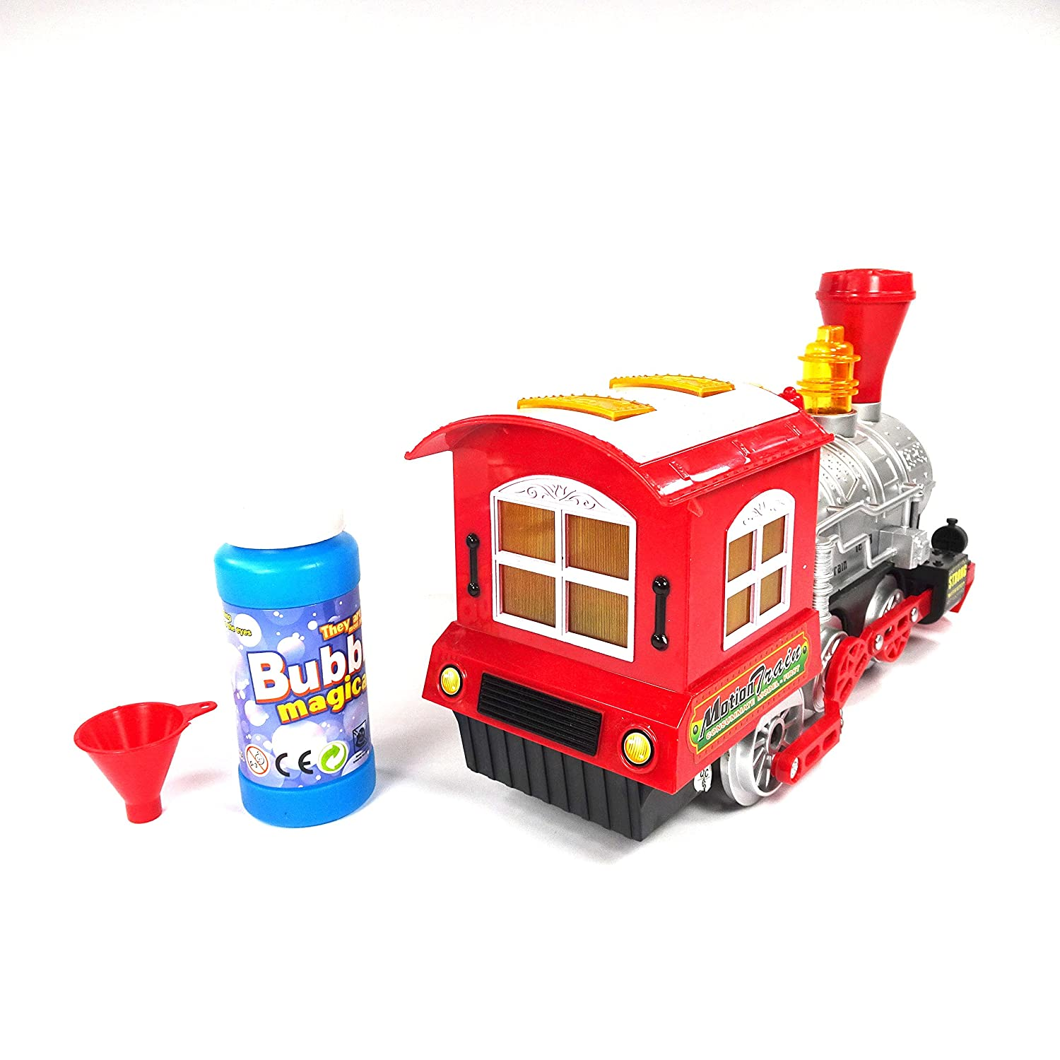 Locomotive Steam Train Engine Car Bubble Blowing Bump and Go Battery Operated Toy Train w// Lights and Sounds YMCtoys