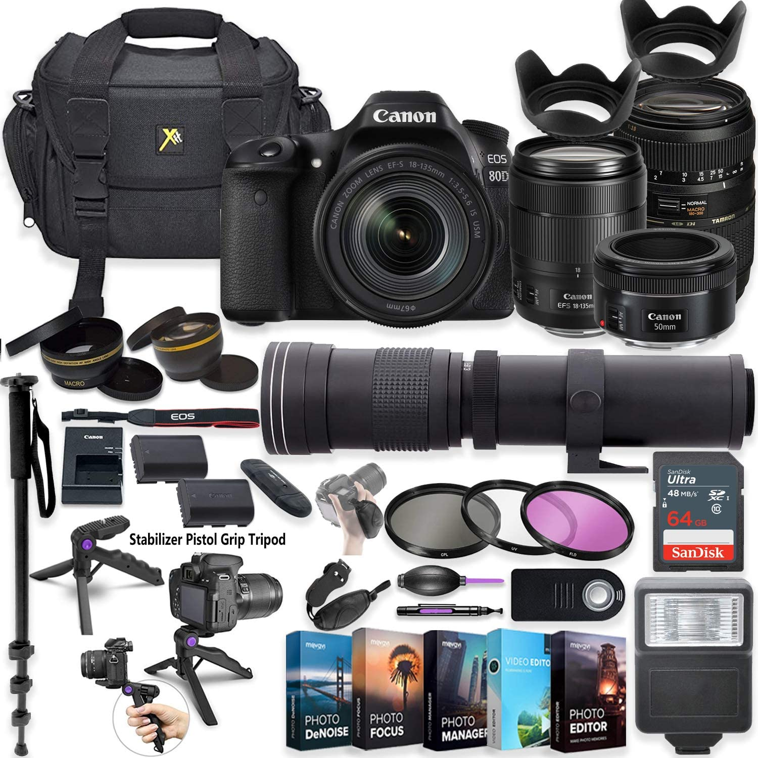 2.2X HD TELEPHOTO ZOOM LENS FOR Canon EOS 80D DSLR WITH 18-135mm Lens Basic Kit