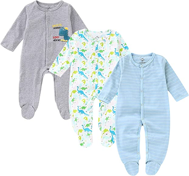 e699aed79 OPAWO Baby Boys' Footed Sleeper Pajamas 3 Pack Long Sleeve Coverall 0-18  Months