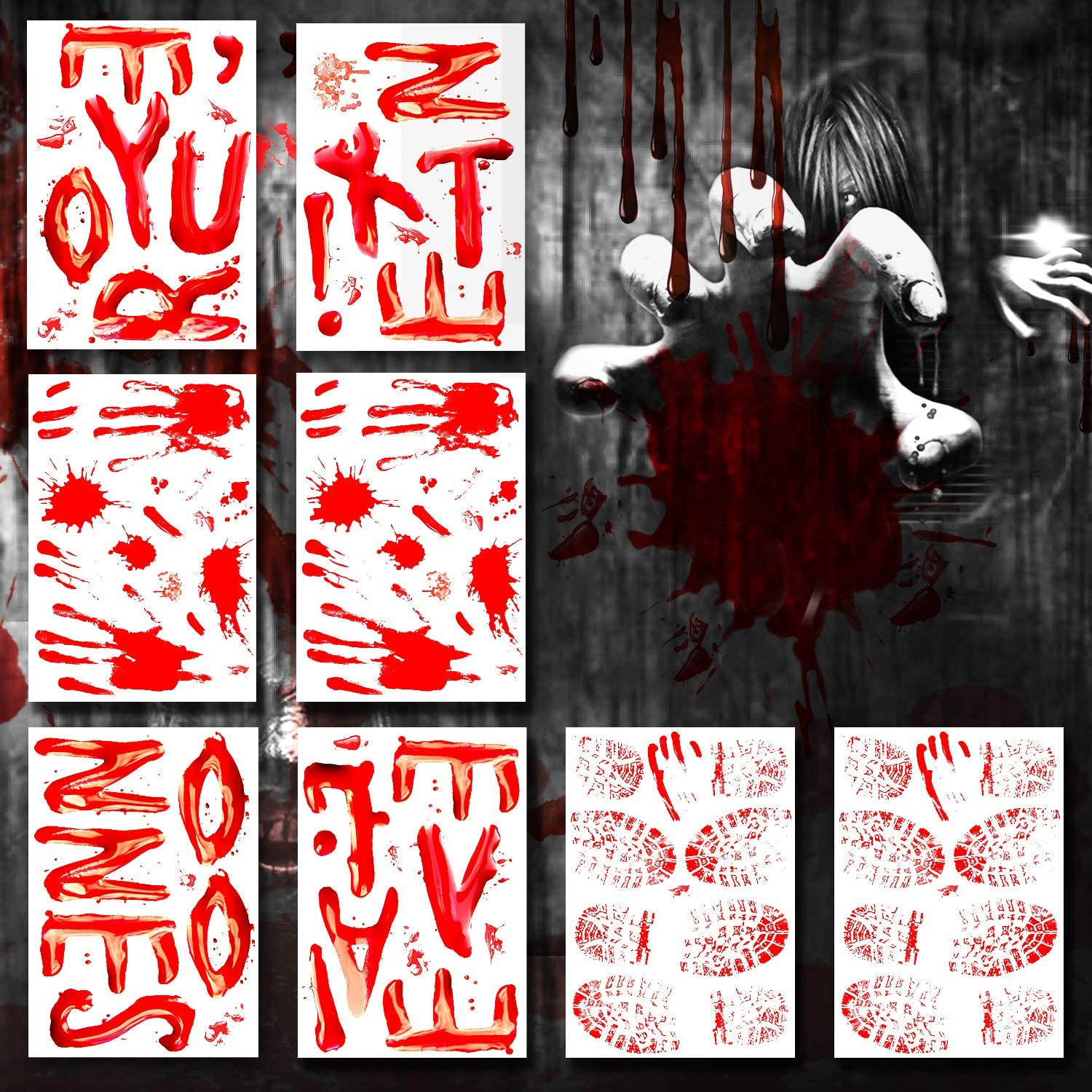 120PCS Halloween Decorations Window Decals Clings Wall Stickers Decor, Bloody Handprint Footprint Horror Bathroom Zombie Party Decorations Supplies - You're Next, No One Leaves