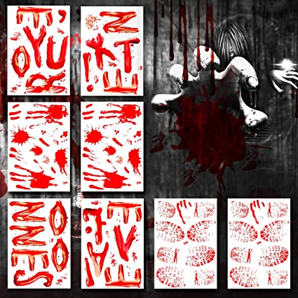 Halloween Blood Window Stickers Party Horror Decorations Scary Decals De