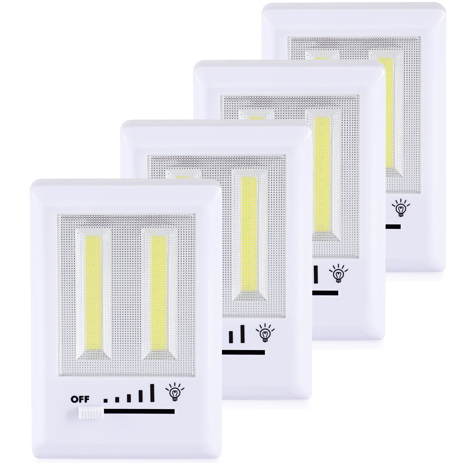 DEWENWILS COB LED Dimmer Switch Light, 200 Lumens Battery Operated Cordless Closet Switch Lights, Adjustable Brightness Reading Light for Kids, Emergency Working Lights, Stick Anywhere Light,4 Pack