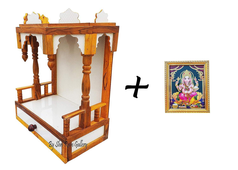 Make Wooden VW Beautiful Plywood Mandir Pooja Room, Height-52, Length-41,  Width-23 cm (White)
