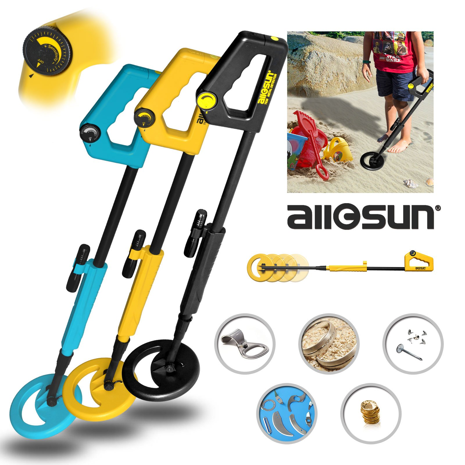 all-sun TS20AHUANG Junior Metal Detector for ChildrenYellow