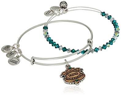 3a074d444 Amazon.com: Alex and Ani Women's Harry Potter Slytherin Motto Set of 2 Two  Tone Bracelet, Rafaelian Silver: Jewelry