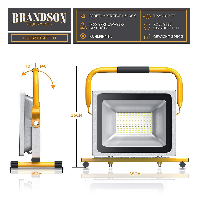 LED Fluter mit 4800 Lumen Gelb F/ür den Innen- und Au/ßenbereich 50W LED Baustrahler Arbeitsscheinwerfer Brandson Bauscheinwerfer