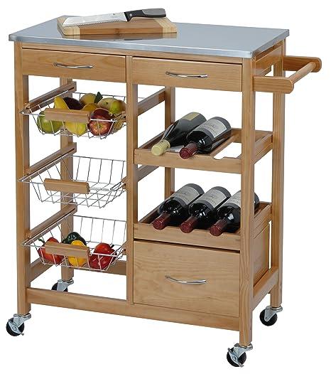 Exclusivo carrito de cocina de madera y Metal - con botellero, cesta de frutas y