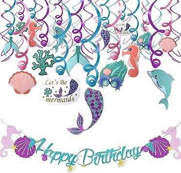 Zuzer 31pcs Sirena Compleanno Swirls Decorazioni a Spirale Pendenti Decorazione Festa Sirena Striscione Happy Birthday per Decorazione Festa di Compleanno Ragazza