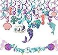 HOWAF Sirena Fiesta de cumpleaños Decoraciones Suministros, Sirena Colgando remolinos Guirnalda, Pancarta de Feliz cumpleaños para niña niño cumpleaños Regalo