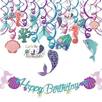 Howaf Sirena Fiesta de cumpleaños Decoraciones Suministros, Sirena Colgando remolinos Guirnalda, Pancarta de Feliz cumpleaños para niña niño ...