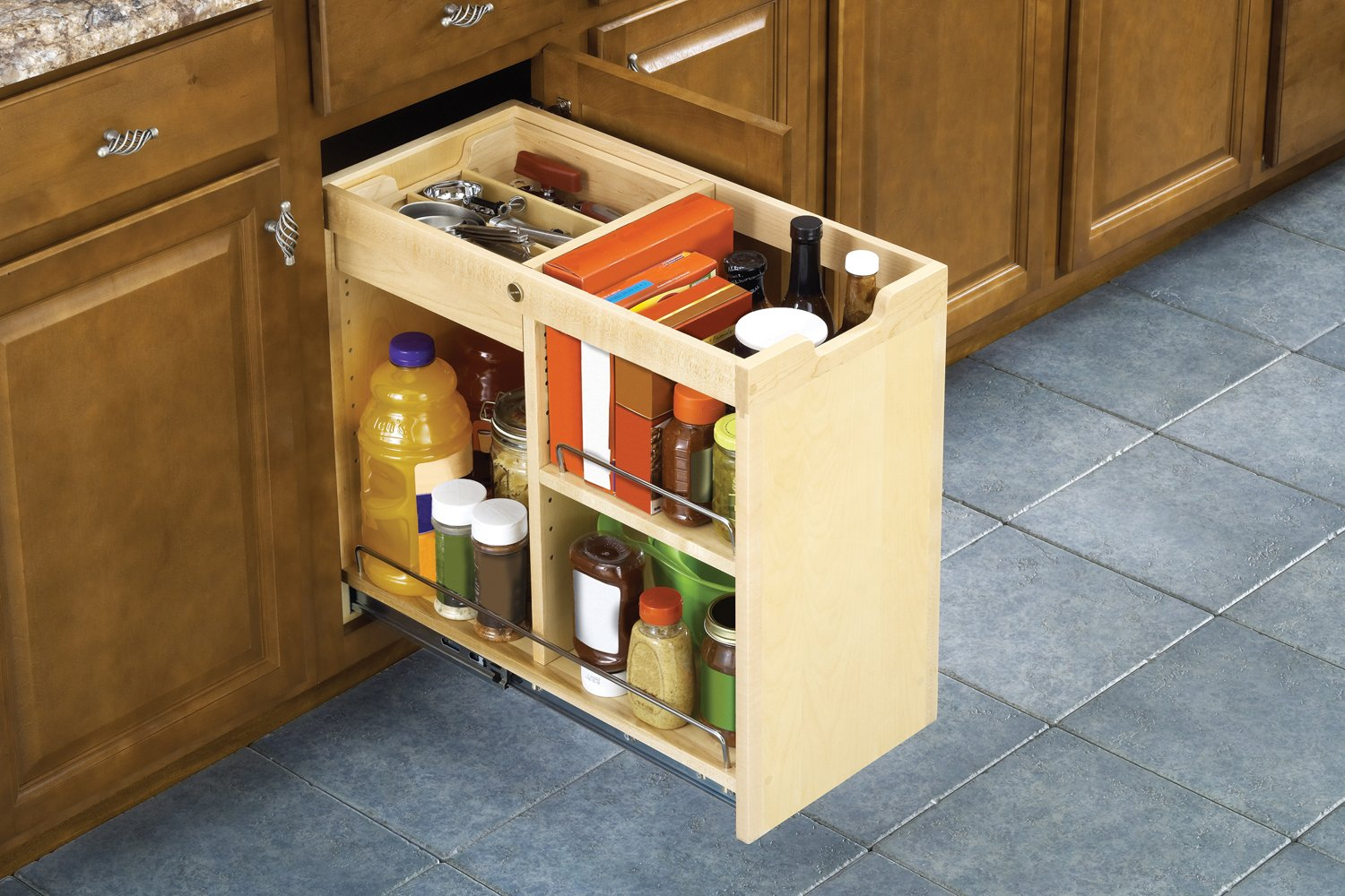 Amazon.com: FindIT Kitchen Storage Organization Base Cabinet Pullout With  Slide, Half Cutlery Tray And Shelf: Home U0026 Kitchen