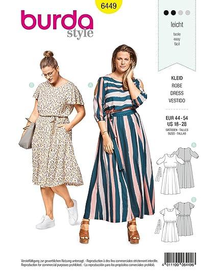 Burda Style Sewing Pattern B6449 - Womens Summer Dresses, A(18-20-
