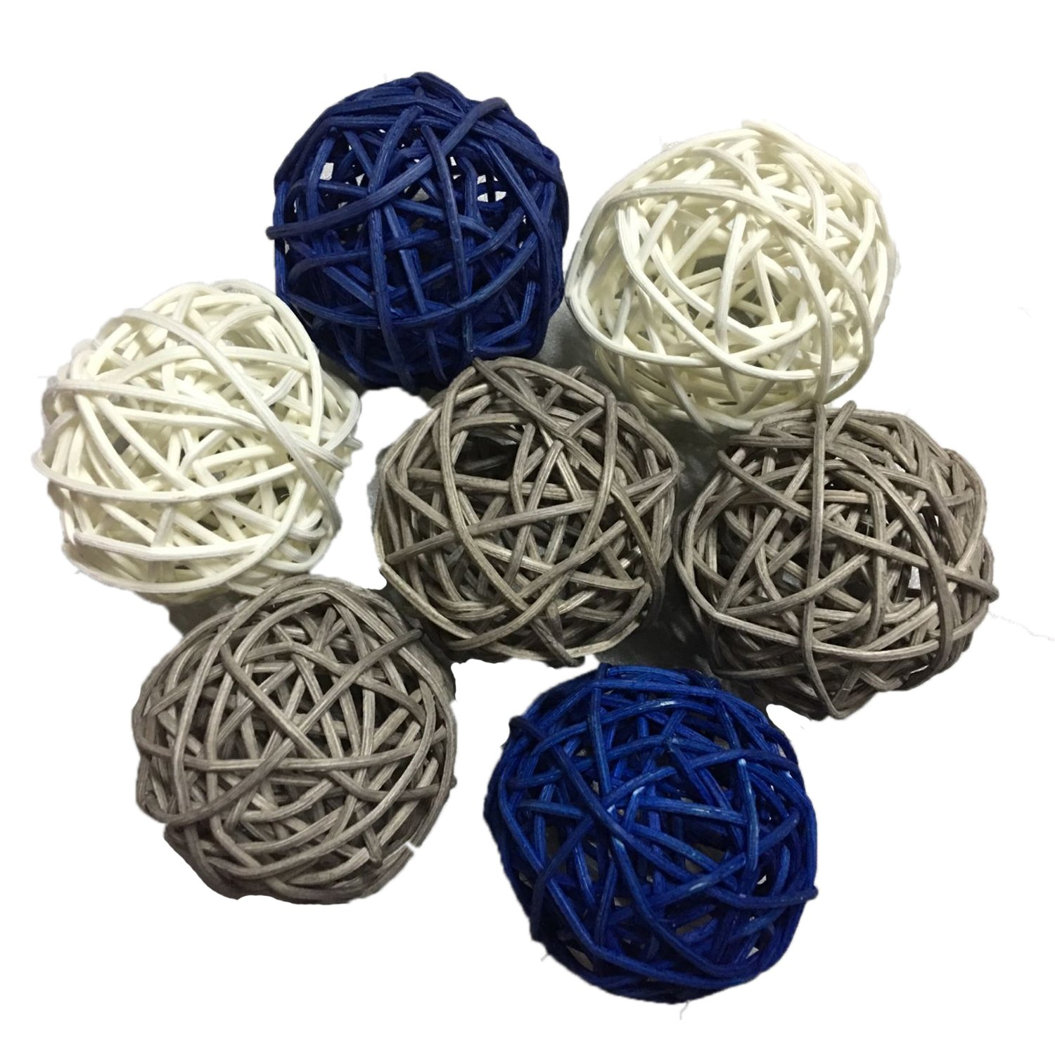 15PCS Mixed Navy Blue Grey White Decorative Wicker Rattan Ball Nautical Themed Party Wedding Birthday Baby Shower Decoration DreammadeStudio