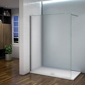 Mampara de ducha 120 y 140 cm de cristal esmerilado con barra ...