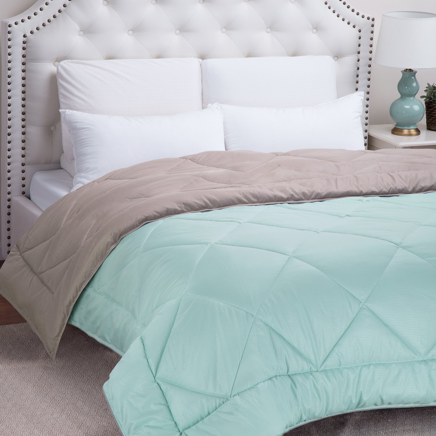 Alternative Comforter with Corner Ties, Full/Queen - Mint/Tan