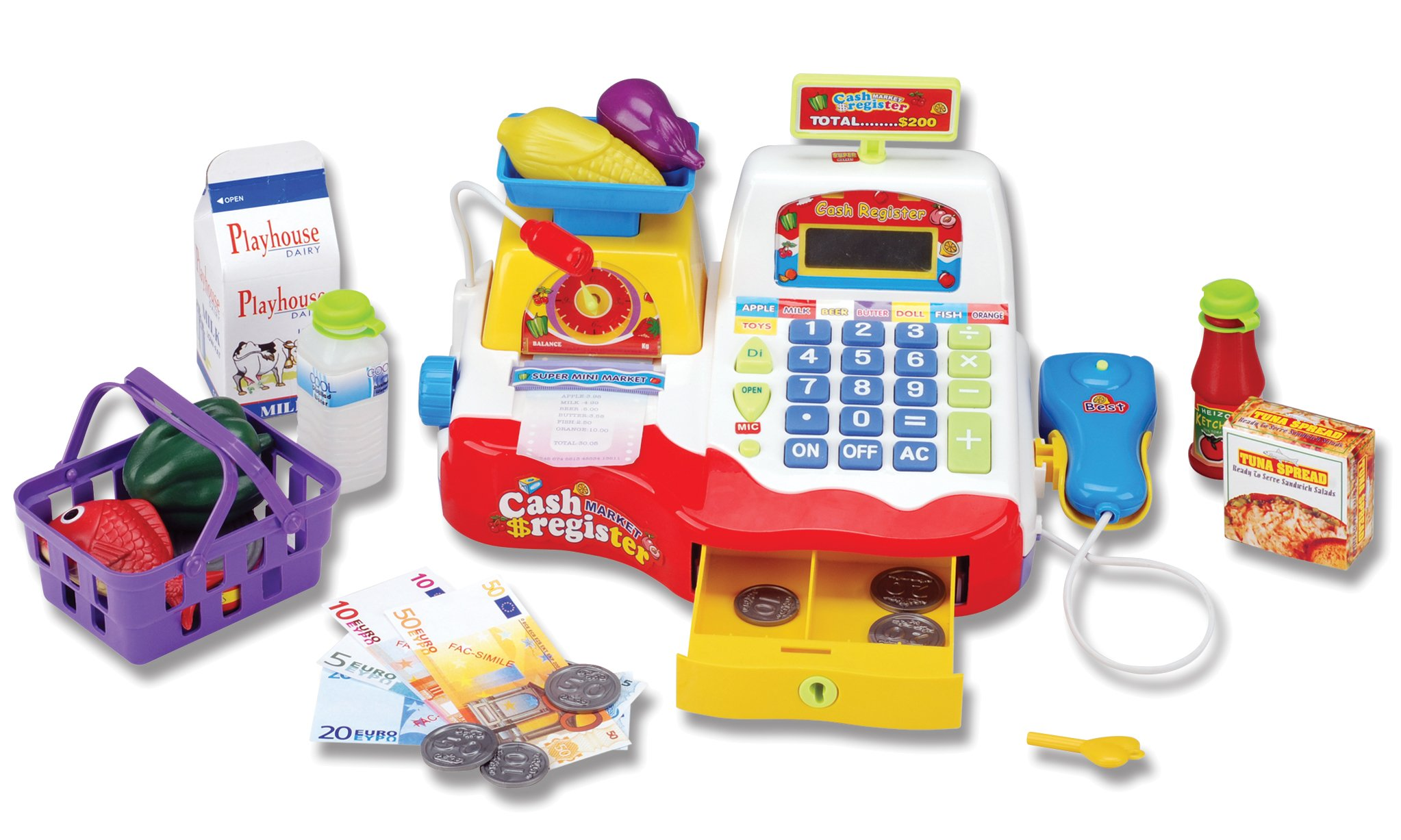 Supermarket Cash Register with Checkout Scanner, Weight Scale, Microphone, Calculator, Play Money and Food Shopping Playset for kids by Liberty Imports