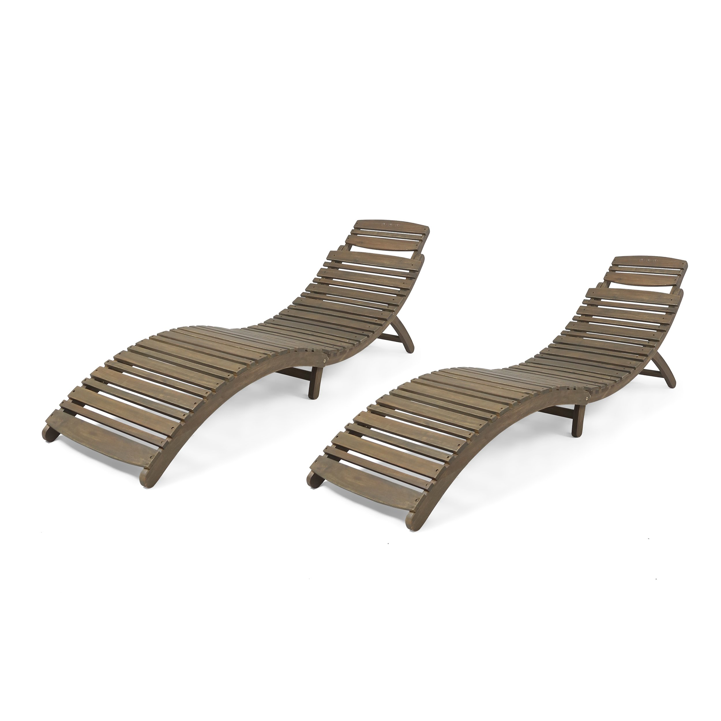Great Deal Furniture 305101 Tycie Outdoor Acacia Wood Foldable Chaise Lounge (Set of 2), Gray, Finish