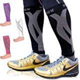 Calf Compression Sleeve One Pair Blitzu Leg Performance Compression Socks for Shin Splint & Calf Pain Relief. Men Women Runners Guards Sleeves for Running. Improves Circulation and Recovery