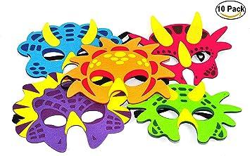 Máscaras para fiestas de dinosaurios,10 Pack Máscaras de espuma ...