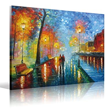 Eatco HD Art Wooden Framed HD Stretched ready to Hang Canvas Wall Art Romantic Oil Painting 20x24 inch(50x60cm) 1pc lovers walk on the side of the lake Prints on Canvas,Palette Knife Painting