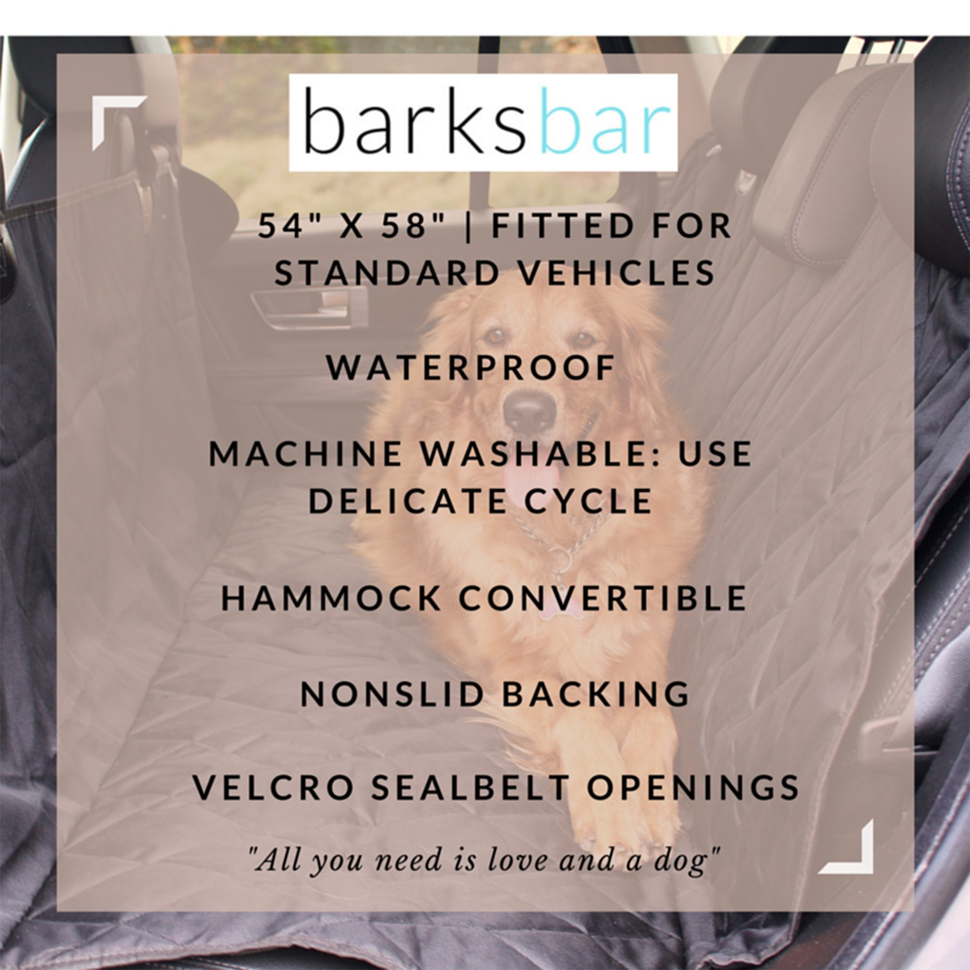 BarksBar Pet Car Seat Cover with Seat Anchors for Cars, Trucks and SUV's, Water Proof and Non-Slip Backing Regular, Black by BarksBar (Image #6)