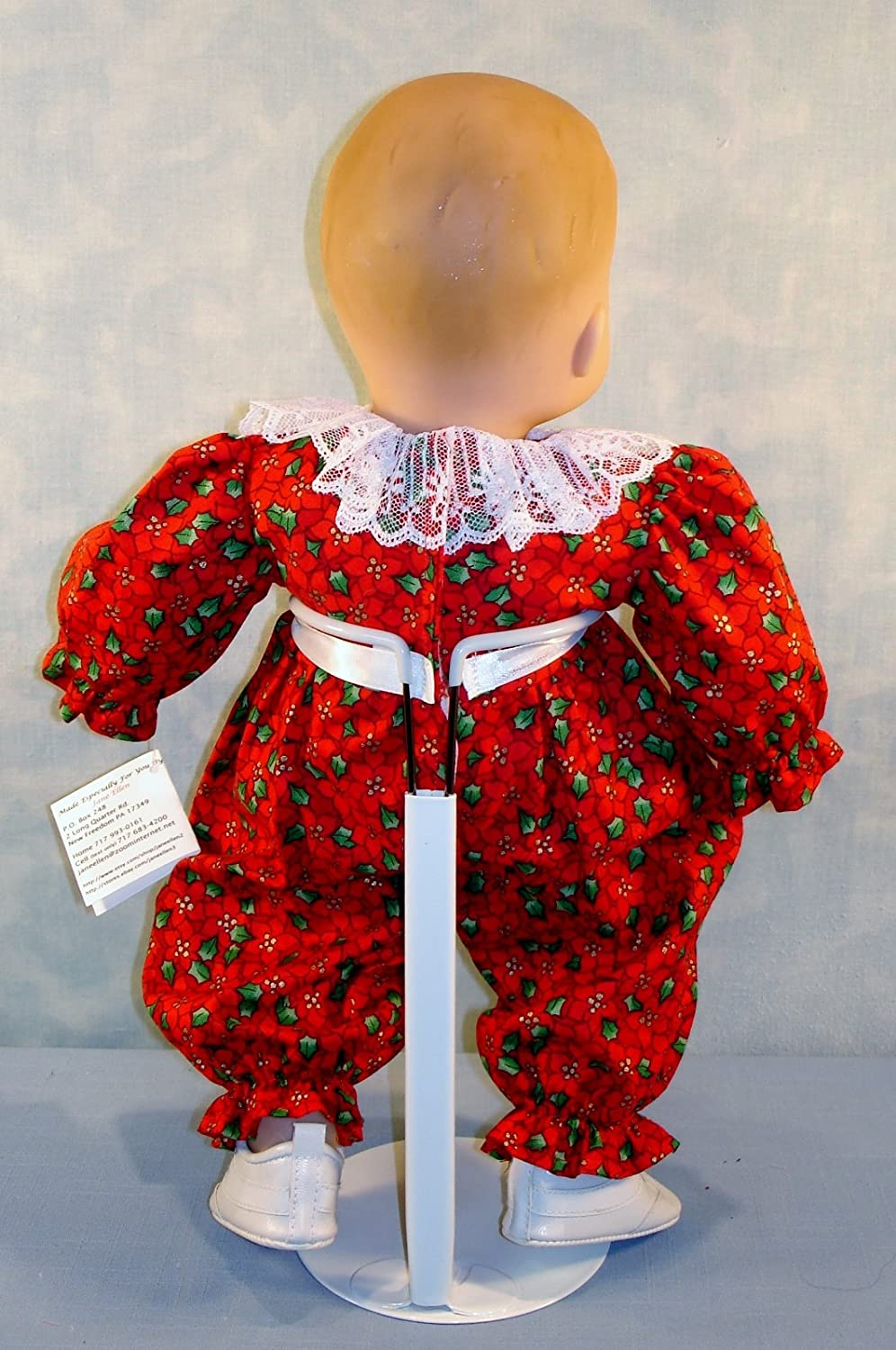 Red Christmas Poinsettia Jumpsuit Baby handmade by Jane Ellen for 15 inch baby dolls 15 Inch Doll Clothes