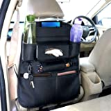 AllExtreme EXSBESBL PU Leather Car Auto Seat Back Organizer Universal Multi Pocket Travel Storage Bag with Hangers, Tissue Paper and Bottle Holder (Black)