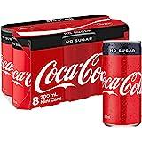 Coca-Cola No Sugar Soft Drink Mini Cans 8 x 200mL