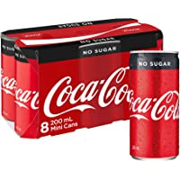 Coca-Cola No Sugar Soft Drink Mini Cans, 8 x 200 ml