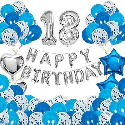 JOEVOT 18th Birthday Decorations, Happy Birthday Banner Balloons for Birthday Party Decorations, Birthday Balloons Party Supplies Blue for Girls Boys (82PCS): Toys & Games