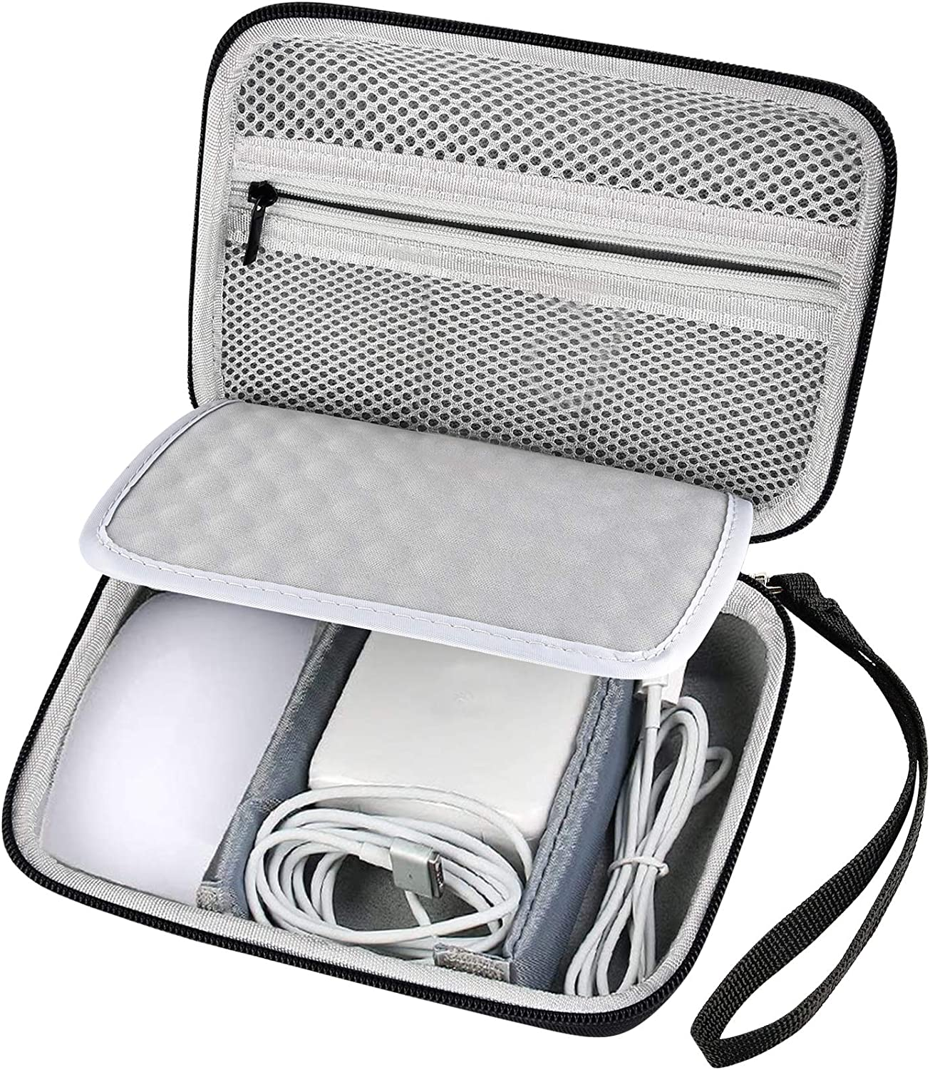 Hard Carrying Case for Apple Pencil, Magic Mouse 2 and 1, Magsafe Power Adapter, BeatsX Earphone, Magsafe Power Adapter, BeatsX,Beats Monster by Dre,Magnetic Charging Cable - Black (Bag Only)