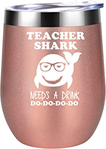 Teacher Gifts - Teacher Appreciation Gifts for Women - Teacher Shark Needs a Drink - Funny Back to School, Thank You, Birthday Gifts for Teachers, Gym Teacher - Coolife Teacher Wine Tumbler Mug Cup