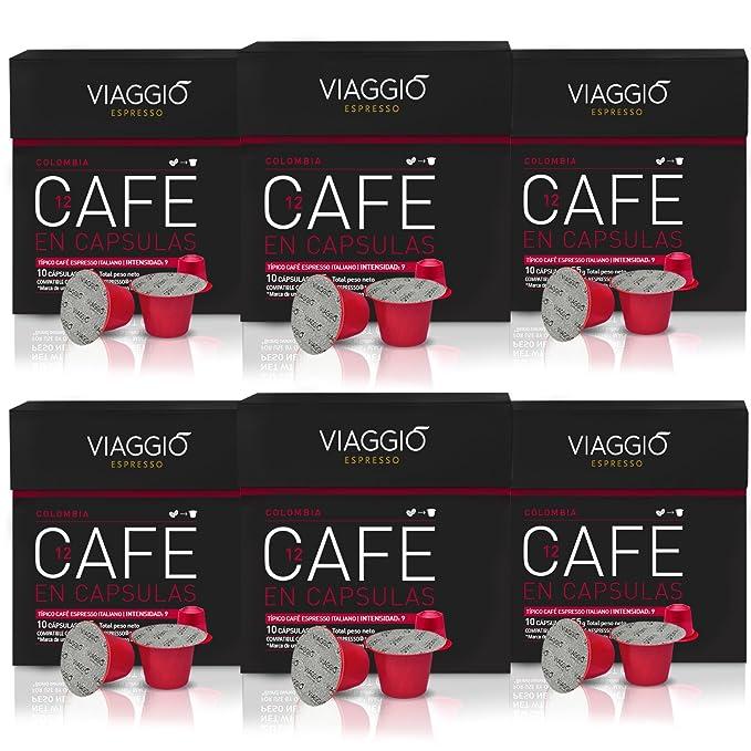 VIAGGIO ESPRESSO - 60 Cápsulas de Café Compatibles con Máquinas Nespresso - COLOMBIA