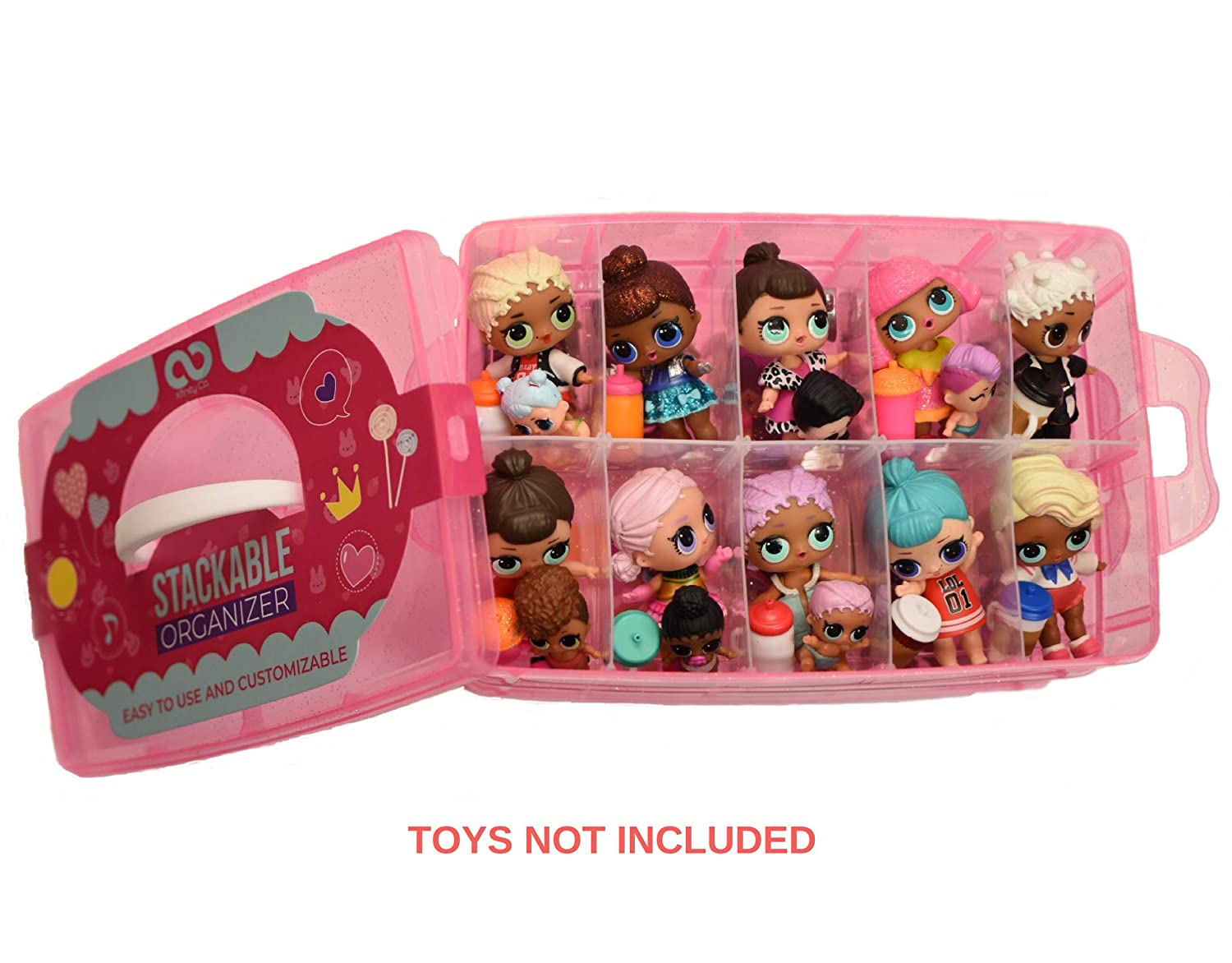 Glitter Pink LOL Storage Case Customizable Toy Adjustable Organizer Case Stackable 3 Tier Perfect for Dolls and Small Collectible Toys 30 Compartments XFINITYCO Toys not Included