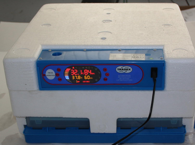 Tradex - Incubadora, Robot de Motor, Totalmente automático, aplicación de Rodillos, humidificación Activa, programas automáticos, lámpara de Tiro ...