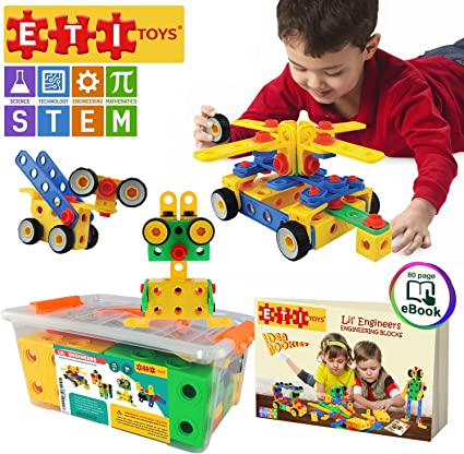 Original 172 Piece Educational Construction Engineering Building Blocks Set for 3 STEM Learning Best Toy Gift for Kids Ages 3yr 6yr ETI Toys Creative Fun Kit 4 and 5+ Year Old Boys /& Girls