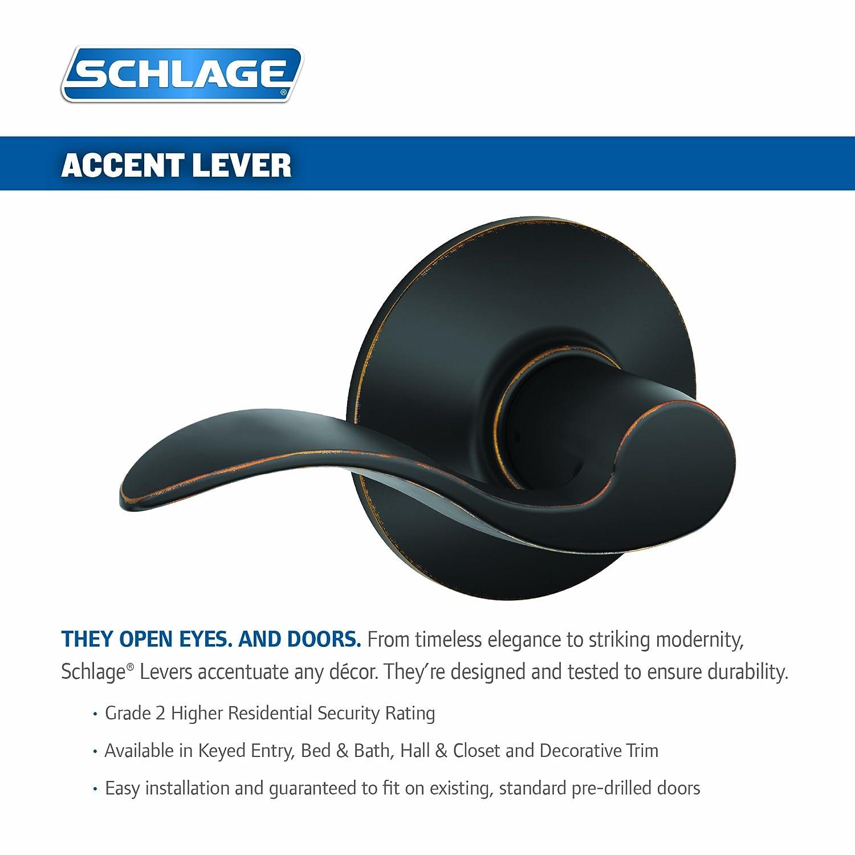 Satin Nickel 1 Pack Schlage Lock Company 01366003419 Schlage F10VACC619 Accent Passage Lever
