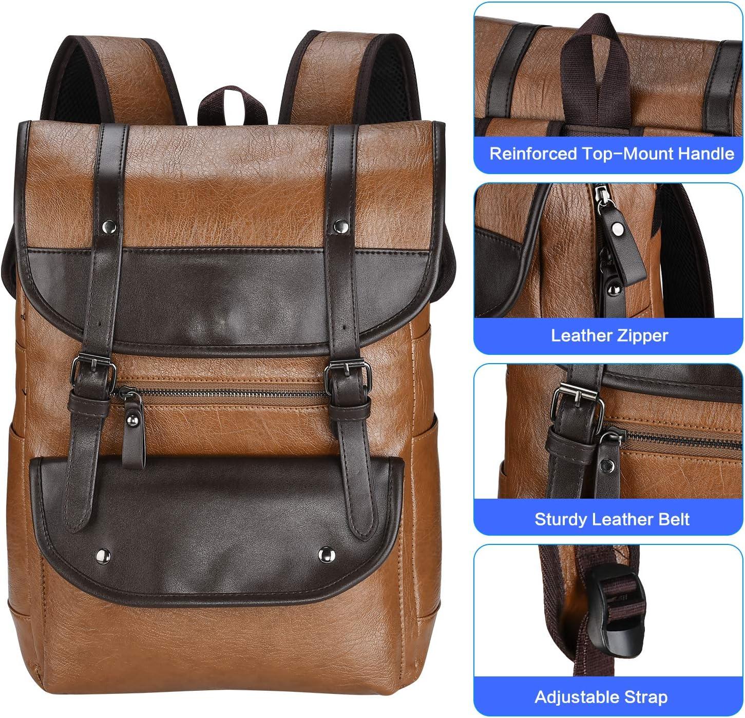 darkbrown Leather Backpack Vintage Leather Brown Backpack Vegan Travel College Bookbag for Women and Men