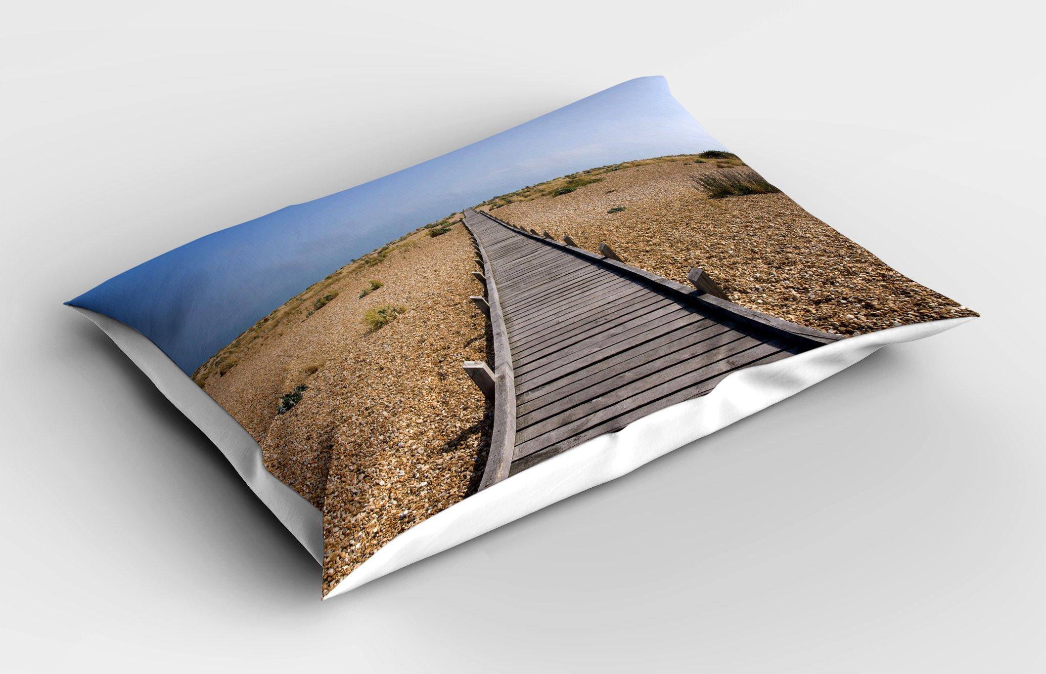 Lunarable Beach Pillow Sham, Raised Wood Boardwalk Across a Pebble Coastline Stone Endless Road Nature Theme, Decorative Standard King Size Printed Pillowcase, 36 X 20 inches, Blue Brown Cream by Lunarable (Image #2)