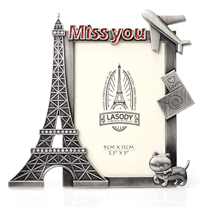 Amazon.com - QTMY Metal Eiffel Tower Miss You Picture Frames Office ...