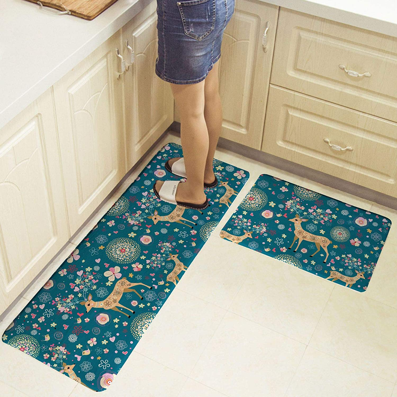 Dimmo Kitchen carpet kitchen mat 2 piece set vertical foot mat waterproof oil-free anti-slip back washable doormat bathroom carpet 40 cm x 40 cm x 40 cm x 120 cm