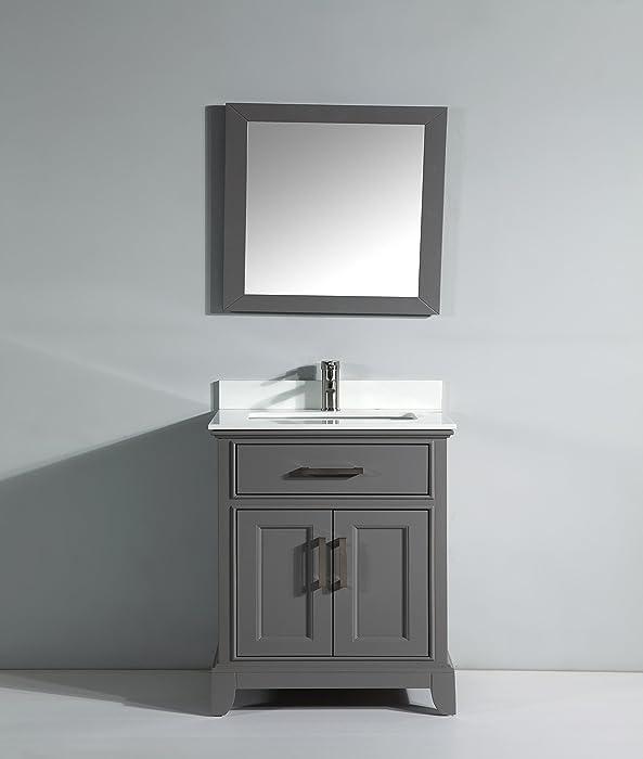 "Vanity Art 30"" Single Sink Bathroom Vanity Set Super White Phoenix Stone Free Mirror VA1030-G"