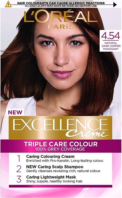 LOreal Excellence 4.54 Tinte permanente de cobre oscuro natural de caoba marrón