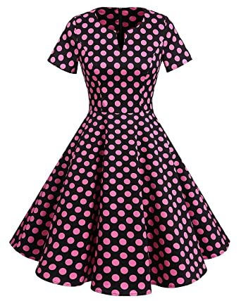 Bridesmay Damen Vintage 50er Rockabilly Retro Party kleider Knielang  Hepburn Cocktailkleider Black Rose Dot S