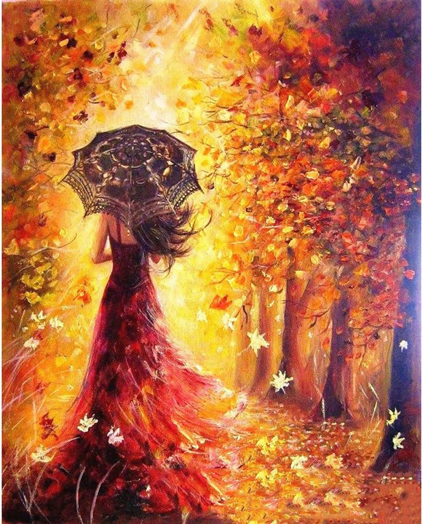 qianber Unframed Umbrella Pretty Girl DIY Paint By Numbers Oil Painting On Canvas Home Decor