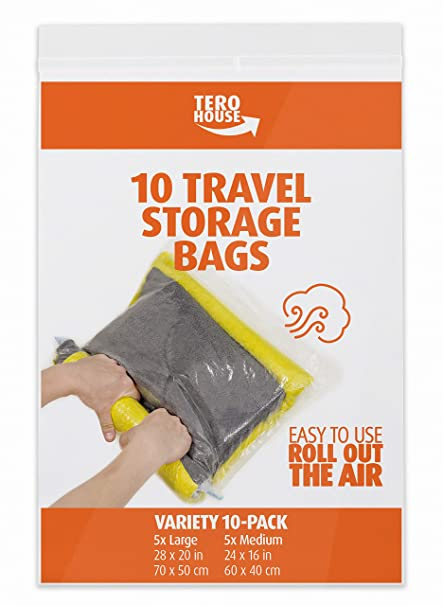 64ea642dd4a1 The Chestnut 12 Travel Storage Bags for Clothes - Compression Bags for  Travel - No Vacuum Sacks-Save Space in Your Luggage