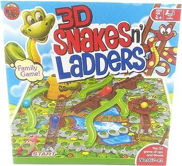Juego de Mesa de Serpientes y escaleras 3D, diversión Familiar: Amazon.es: Juguetes y juegos