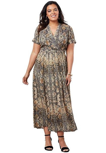 Roamans Women\'s Plus Size Wrap Maxi Dress in Crinkle