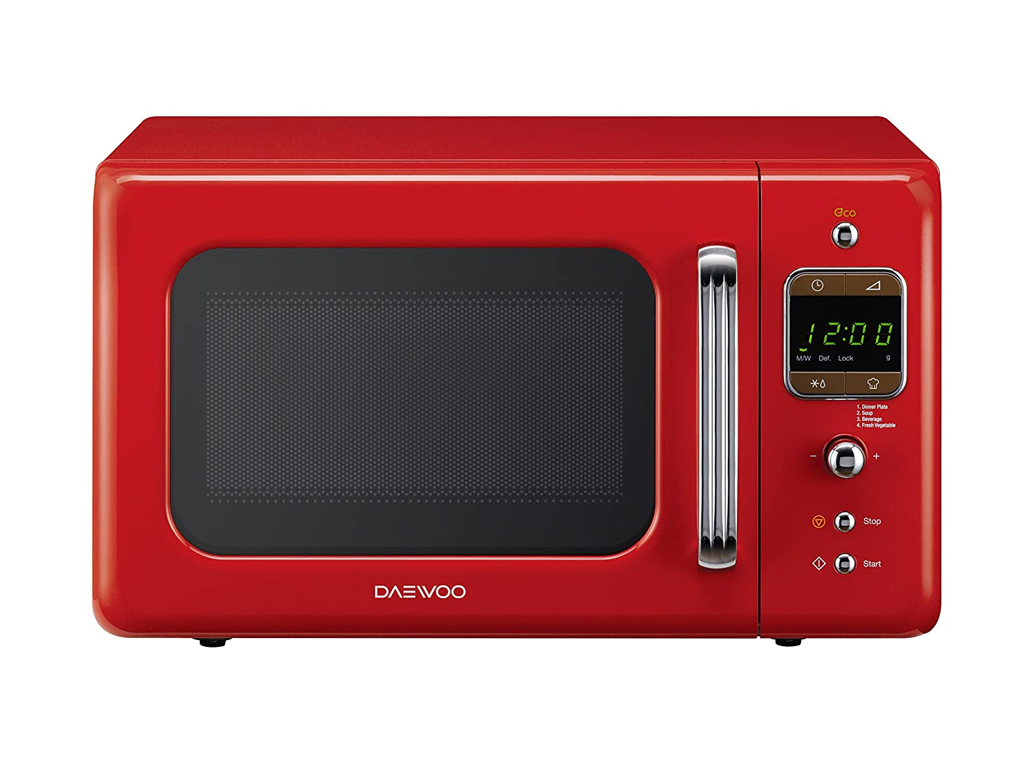 Daewoo KOR7LBKR Retro Style Microwave Oven, 20 L, 800 W - Red ...